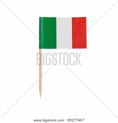 Miniature Flag Italy. Isolated On White Background