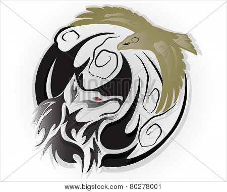 A tribal wolf with eagle tattoo