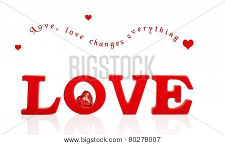 Red letters to spell LOVE on a white background for Valentines day