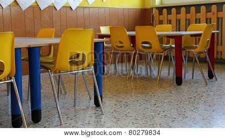 Kindergarten Classroom With Chairs And Table