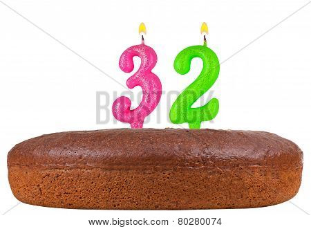 Birthday Cake With Candles Number 32 Isolated