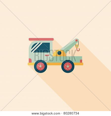 Transportation Tow Truck Flat Icon With Long Shadow,eps10