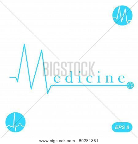 M Letter Medicine Concept Template On White Background