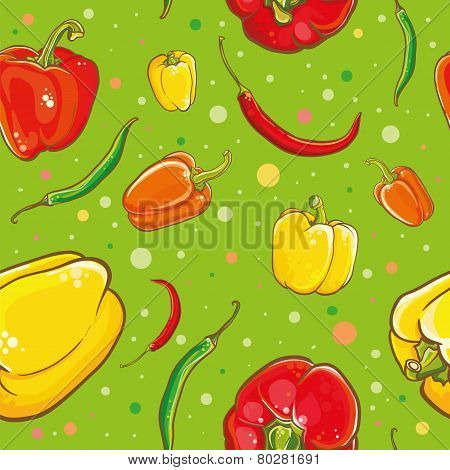 Seamless Vector Pattern With Peppers