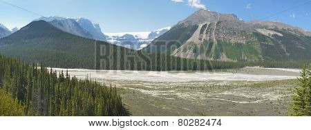 Columbia Icefield Panoramic Landscape In Alberta. Canada