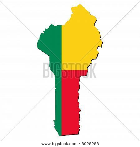 Benin Map Flag With Shadow Illustration