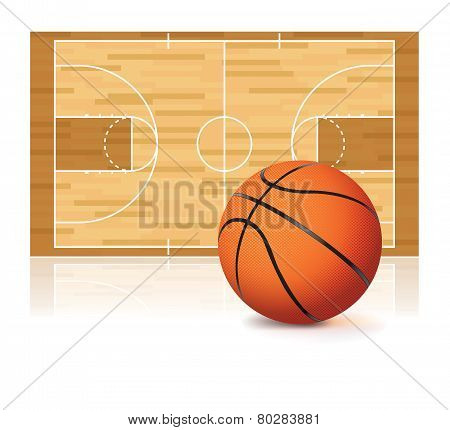 Basketball And Court Isolated On White