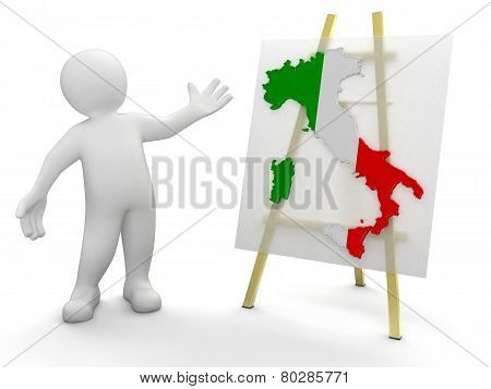 Man and Italian map (clipping path included)