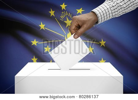 Voting Concept - Ballot Box With Us State Flag On Background - Indiana