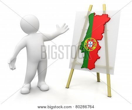 Man and Portuguese map (clipping path included)