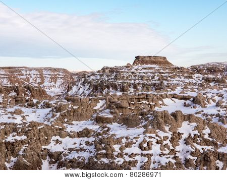Butte In The Badlands In Winter