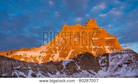 Peak In The Badlands In Winter