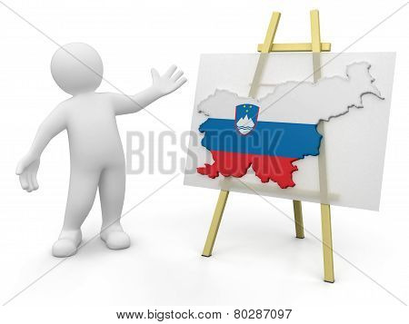 Man and Slovene map (clipping path included)