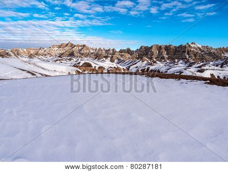 Rugged Peaks Of The Badlands In Winter