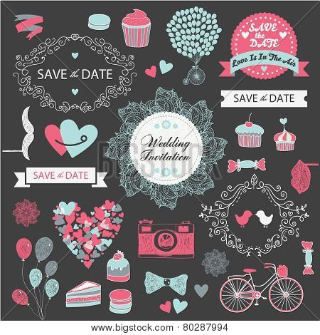 vector set wedding vintage hand drawn invitation