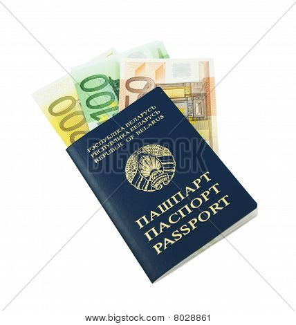 Passport With Euro Banknotes