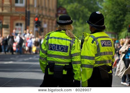 Police on guard at a parade