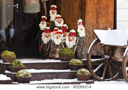Christmas Dolls On A Street Of Vilnius