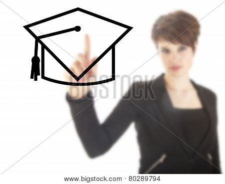 Young Student With Black Hat Isolated On White Background