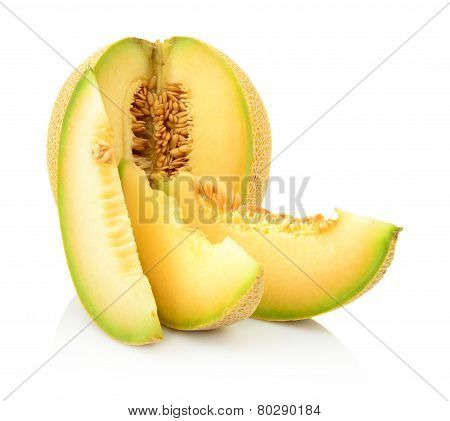 Closeup Melon Galia With Slices Isolated On White