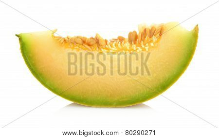 Melon Galia Slice, Piece Isolated White In Studio