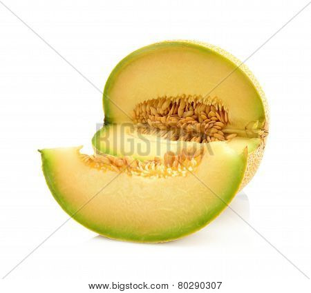 Melon Galia Notched With Slice Isolated White In Studio