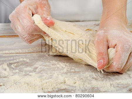 Hands In Flour  Kneading Dough