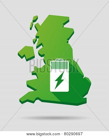 United Kingdom Map Icon With A Battery