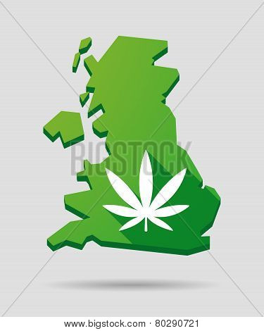 United Kingdom Map Icon With A Marijuana Leaf