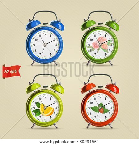 Set Vector Illustration Of Realistic Colorful Alarm Clock.