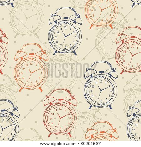 Seamless Pattern With Alarm Clocks In Vintage Style.