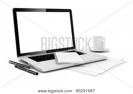 3d office desk with computer and documents