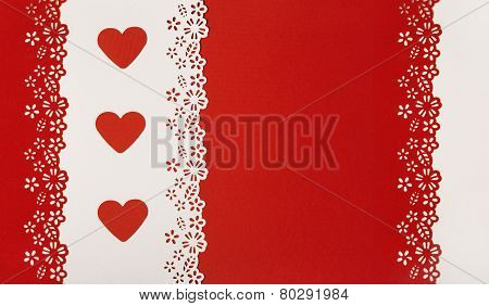 Hearts Red Background. Valentine Day Empty Greeting Card Decorative Template. Wedding Love Concept.
