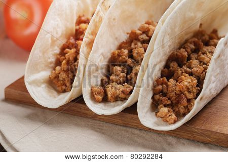 Closeup Of Three Tacos With Minced Meat
