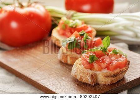 Italian Bruschetta With Tomatoes Onion And Basil