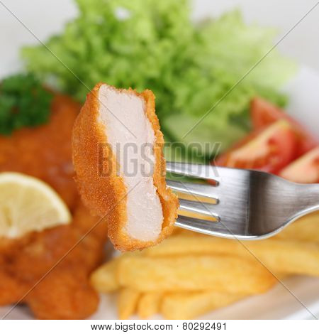 Eating Schnitzel Chop Cutlet With Fork