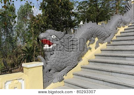 Staircase With A Handrail In The Form Of A Dragon