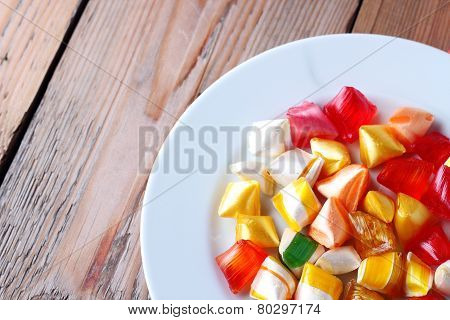 Plate With Colorful Sweet Candies