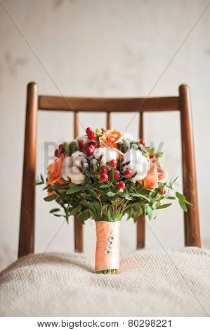 Luxury wedding bouquet close-up