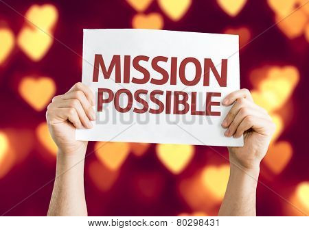 Mission Possible card with heart bokeh background