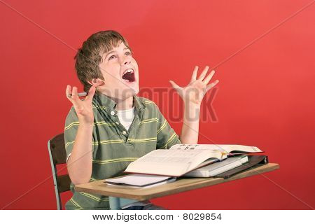 kid screaming at desk