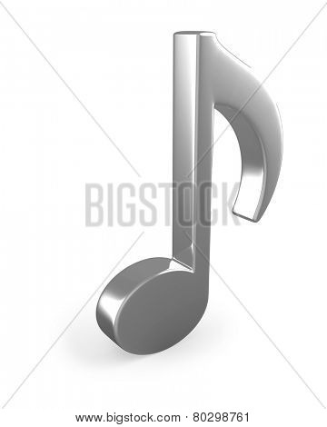 Metal3D music note sign isolated on white background.