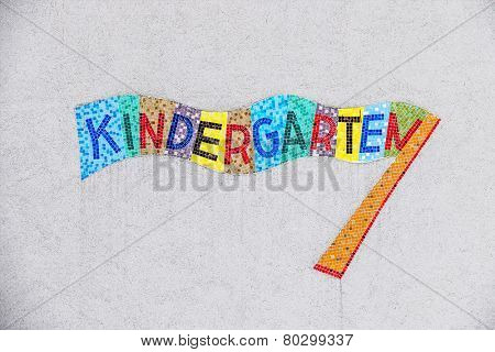 kindergarten colorful sign, symbol for child care and child-friendliness