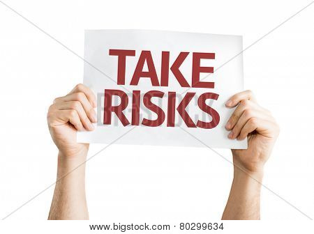 Take Risks card isolated on white background
