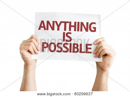 Anything is Possible card isolated on white background
