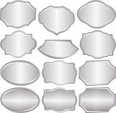 image of plaque  - set of isolated silver plaques   - JPG