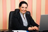 Smiling Business Woman Using Laptop In Office