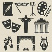 stock photo of drama  - art theater icons set  - JPG