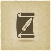 foto of feathers  - scroll and feather writing symbol old background  - JPG