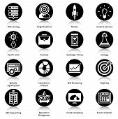 stock photo of audience  - Seo icons black set with web hosting target audience mission creative services isolated vector illustration - JPG